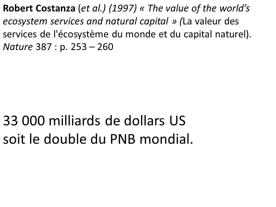 33 000 milliards de dollars US soit le double du PNB mondial.