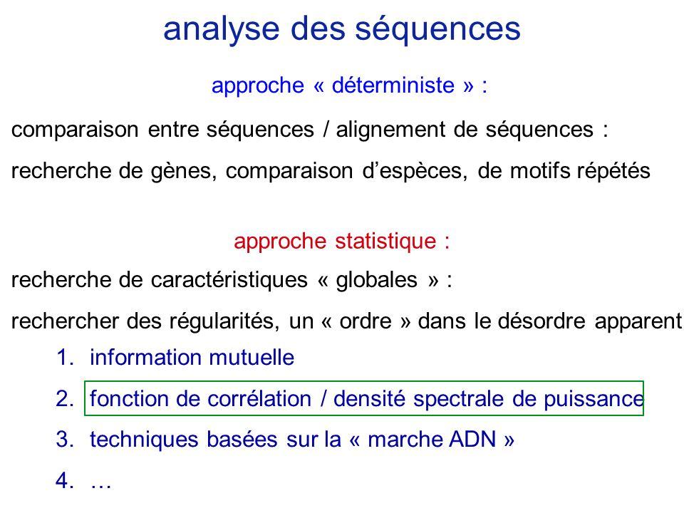 analyse des séquences approche « déterministe » :