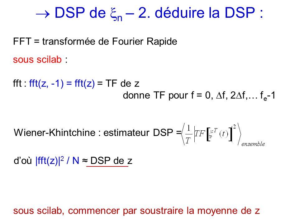  DSP de n – 2. déduire la DSP :