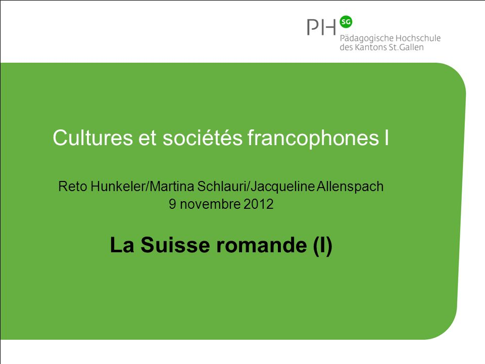 Cultures et sociétés francophones I