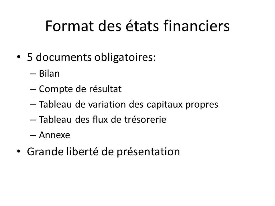 Format des états financiers