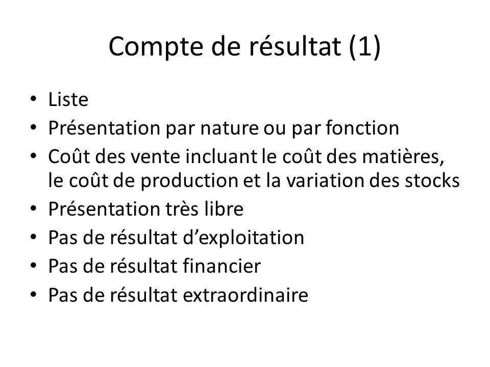 Compte de résultat (1) Liste Présentation par nature ou par fonction