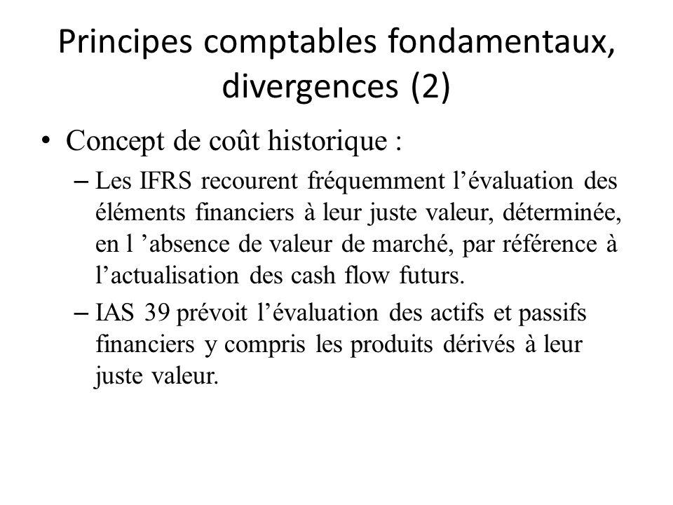 Principes comptables fondamentaux, divergences (2)
