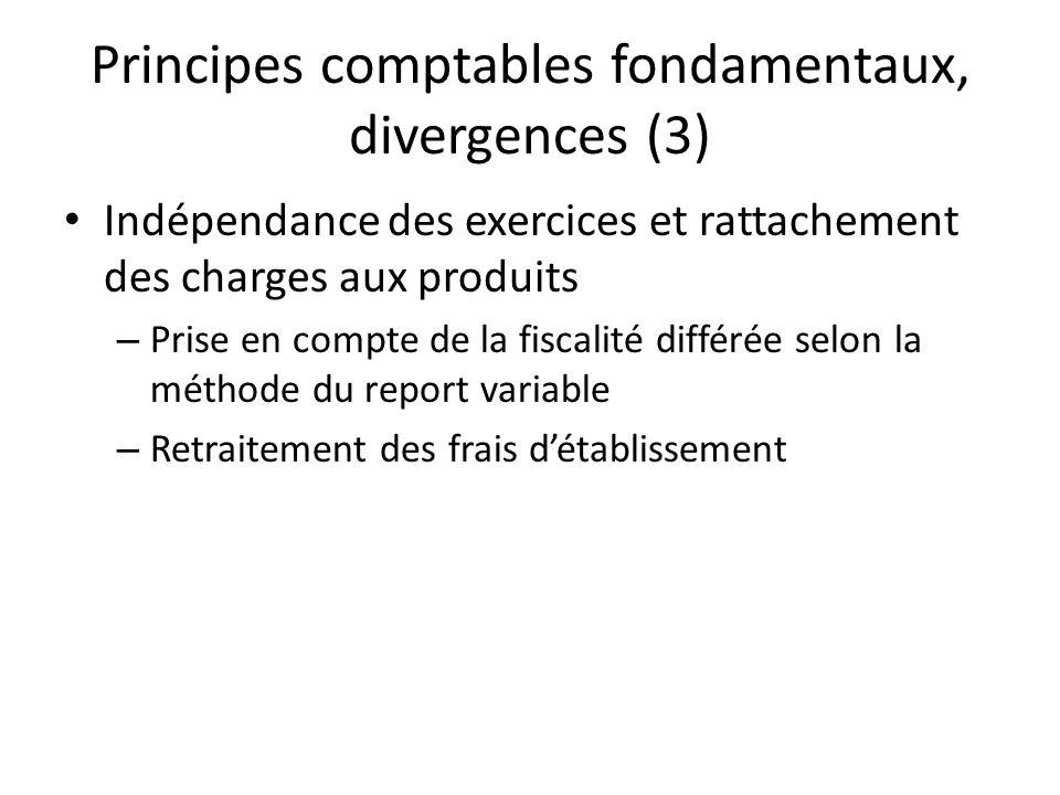 Principes comptables fondamentaux, divergences (3)