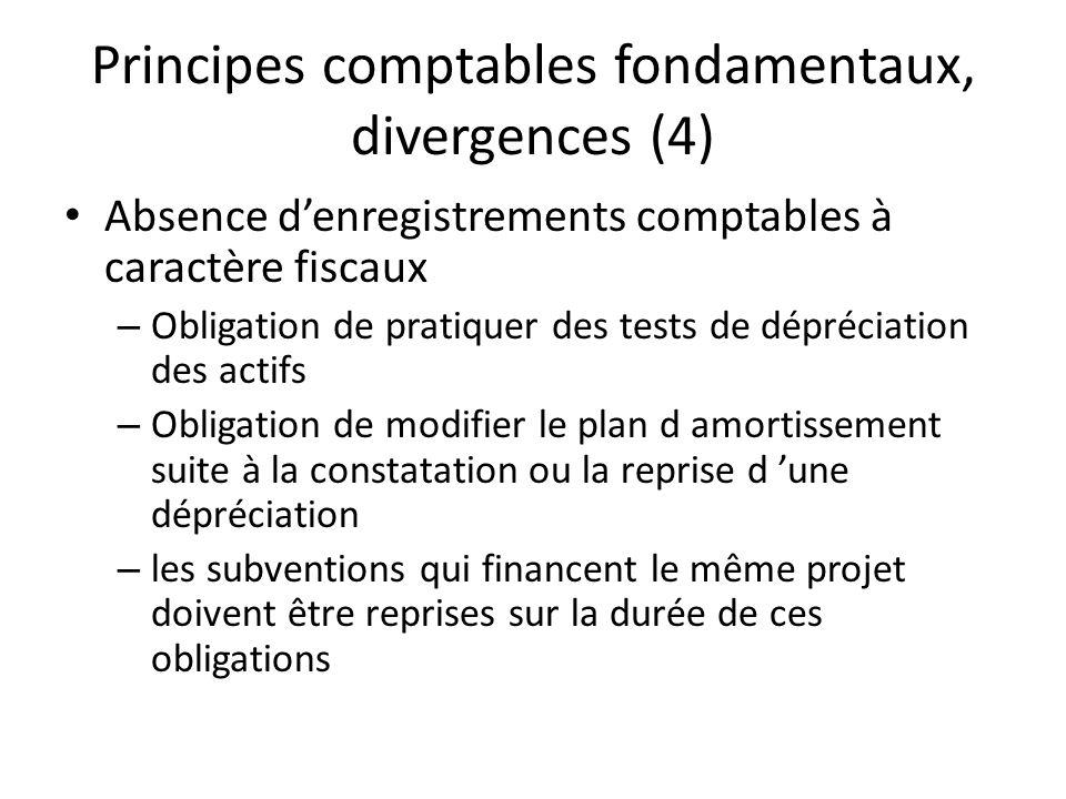 Principes comptables fondamentaux, divergences (4)