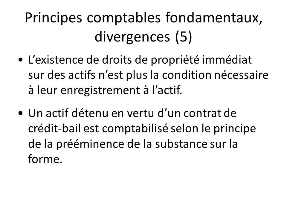 Principes comptables fondamentaux, divergences (5)