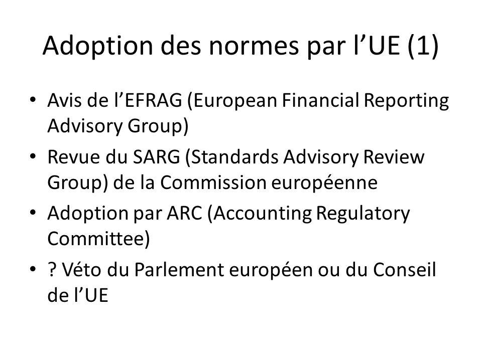 Adoption des normes par l'UE (1)