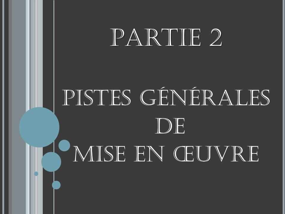 Partie 2 Pistes générales de mise en œuvre