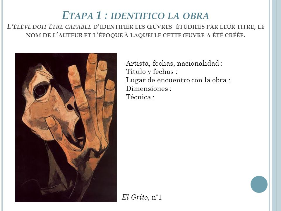 Etapa 1 : identifico la obra L'élève doit être capable d'identifier les œuvres étudiées par leur titre, le nom de l'auteur et l'époque à laquelle cette œuvre a été créée.