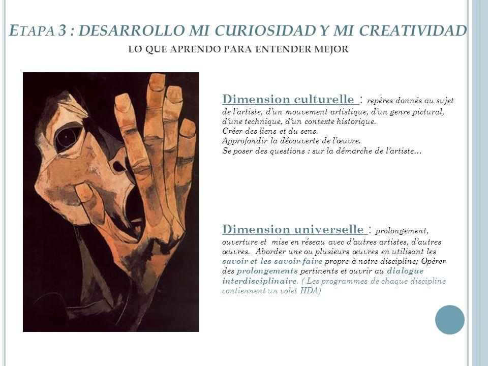 Etapa 3 : desarrollo mi curiosidad y mi creatividad lo que aprendo para entender mejor