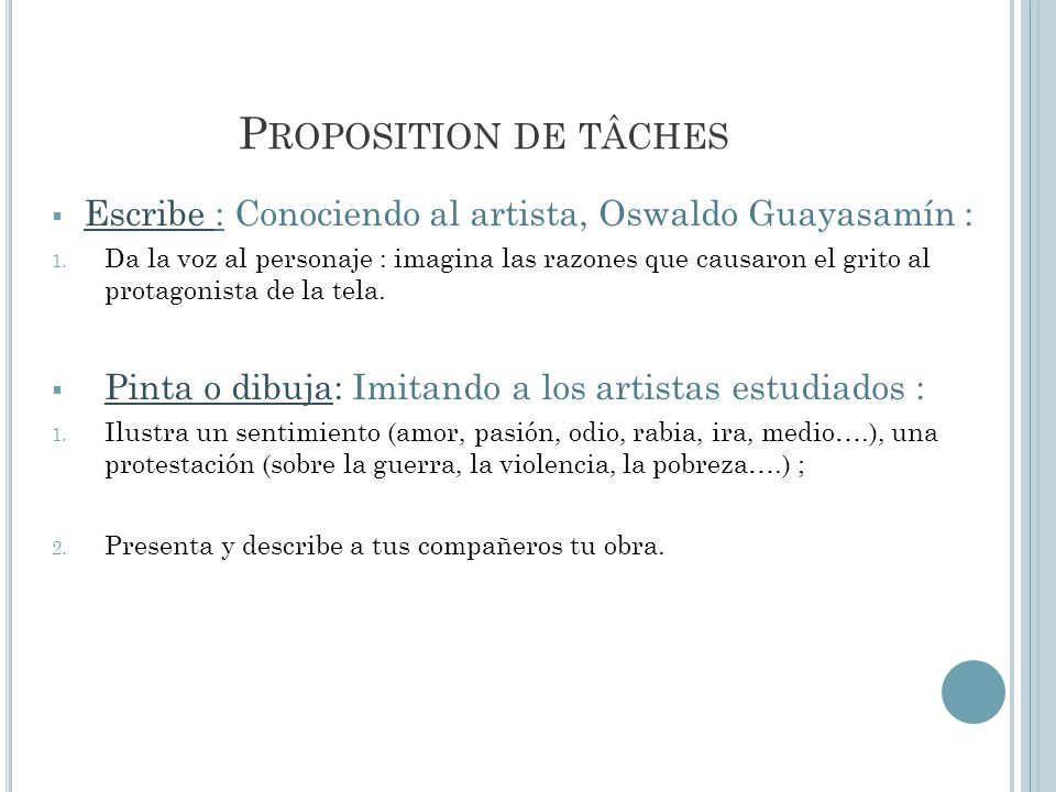 Proposition de tâches Escribe : Conociendo al artista, Oswaldo Guayasamín :