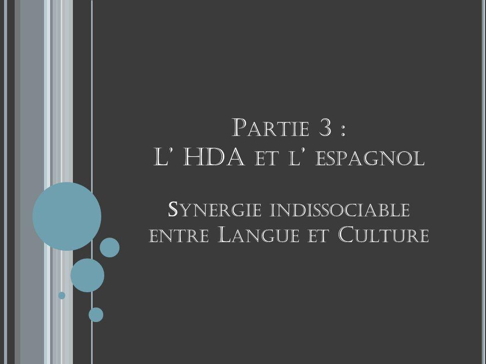 Partie 3 : L' HDA et l' espagnol Synergie indissociable entre Langue et Culture