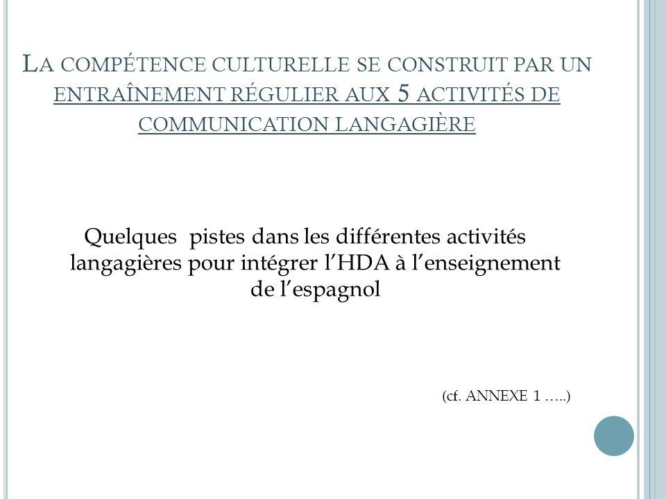 La compétence culturelle se construit par un entraînement régulier aux 5 activités de communication langagière