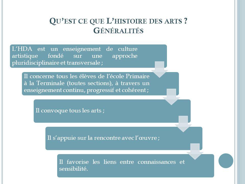 Qu'est ce que L'histoire des arts Généralités