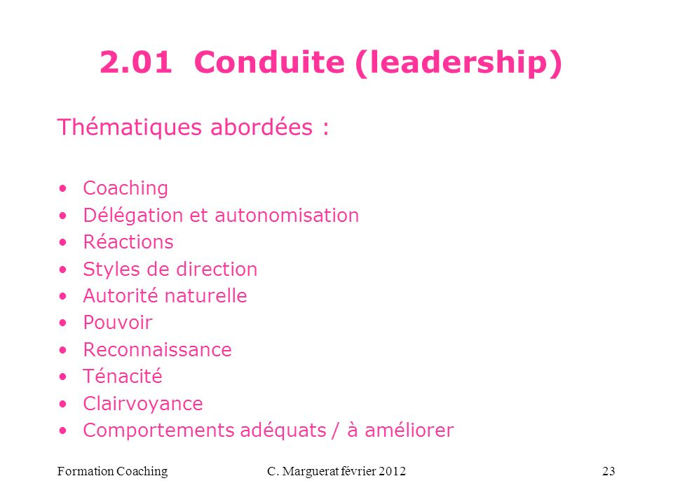 2.01 Conduite (leadership)