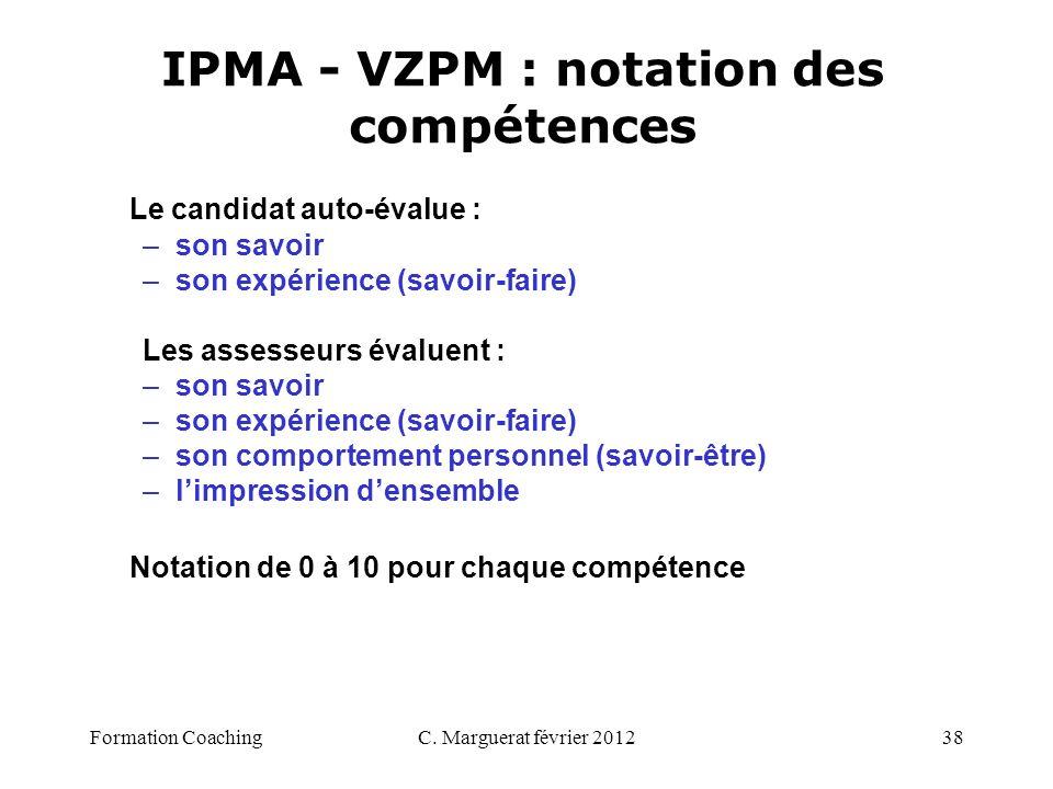 IPMA - VZPM : notation des compétences