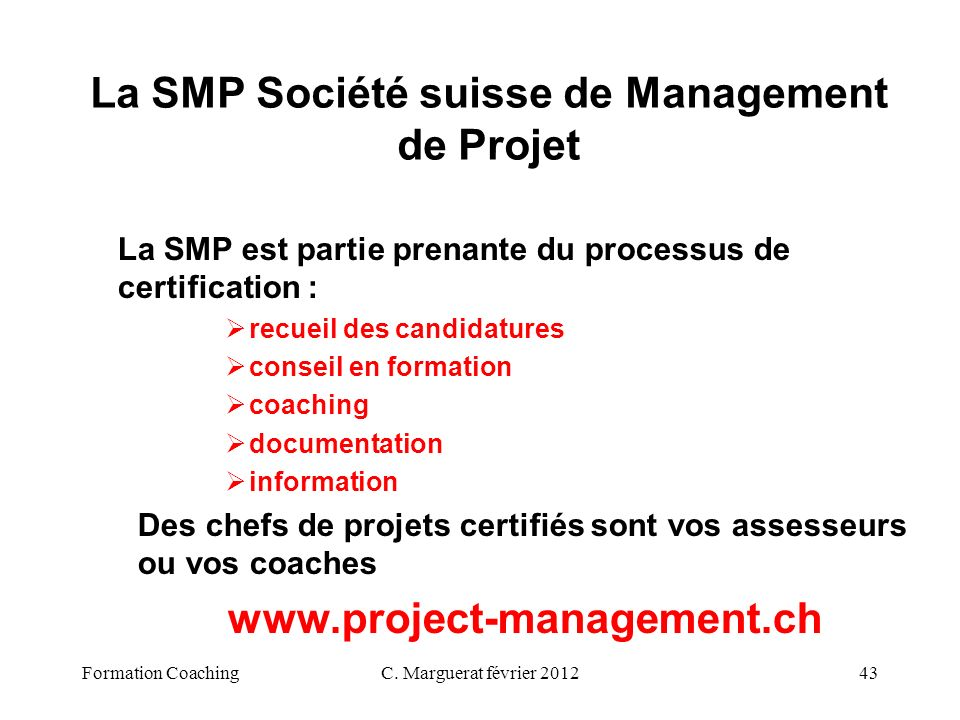 La SMP Société suisse de Management de Projet