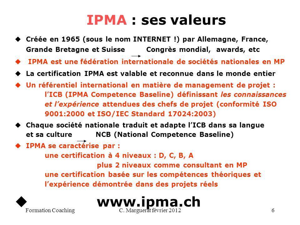 IPMA : ses valeurs www.ipma.ch