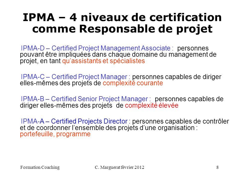 IPMA – 4 niveaux de certification comme Responsable de projet