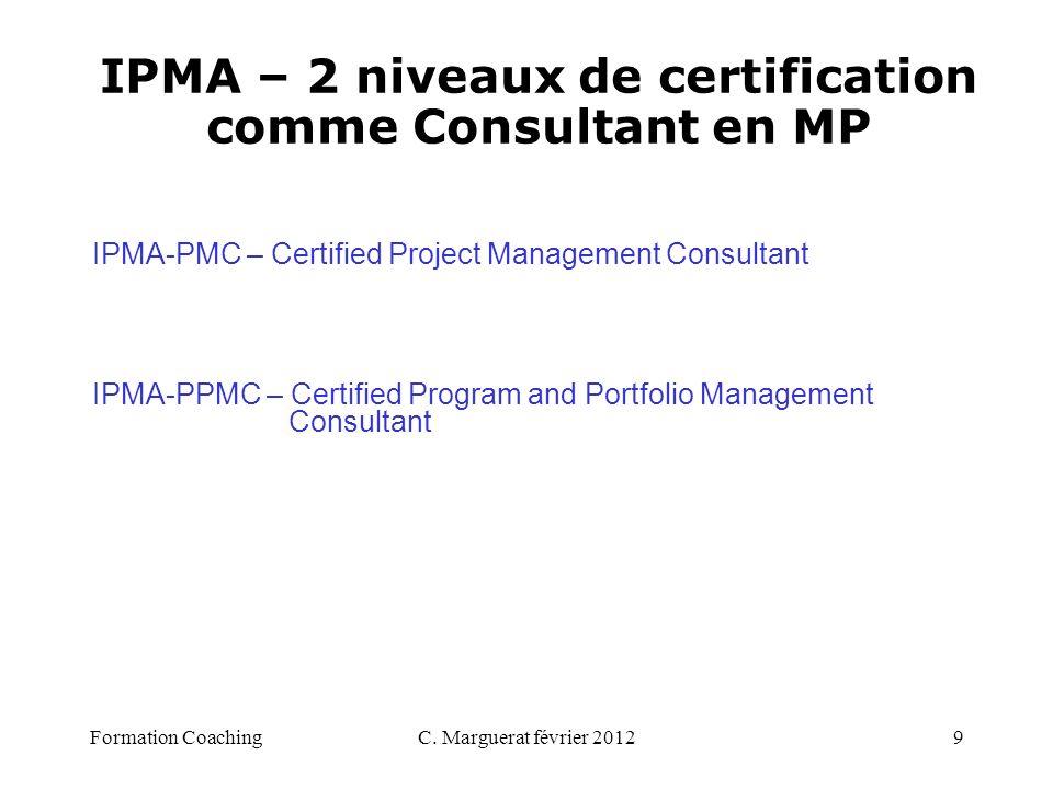 IPMA – 2 niveaux de certification comme Consultant en MP
