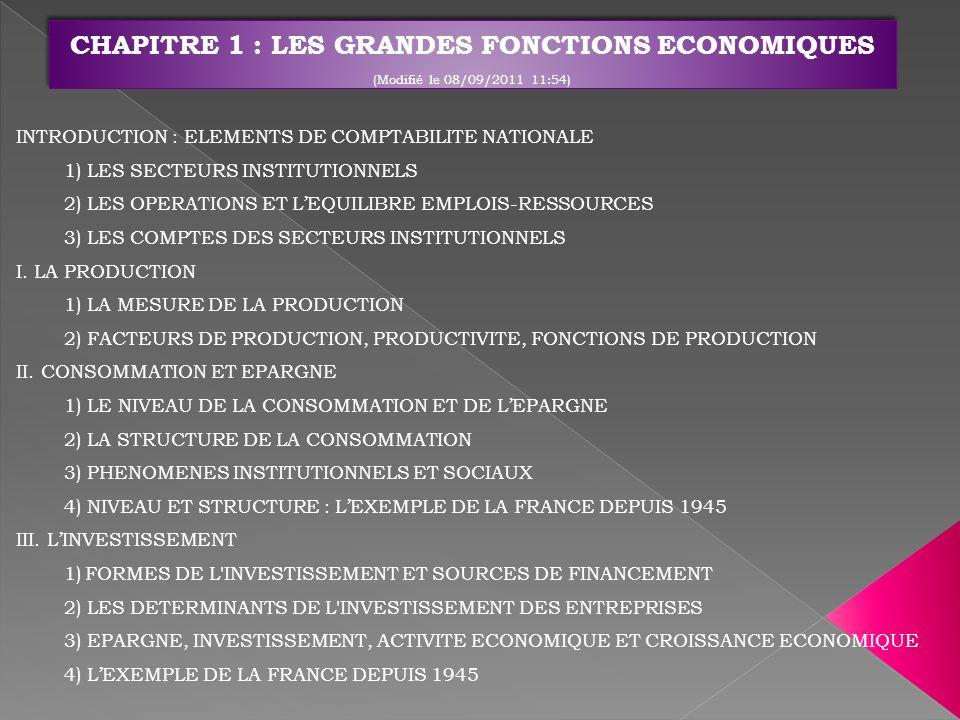 CHAPITRE 1 : LES GRANDES FONCTIONS ECONOMIQUES (Modifié le 08/09/2011 11:54)