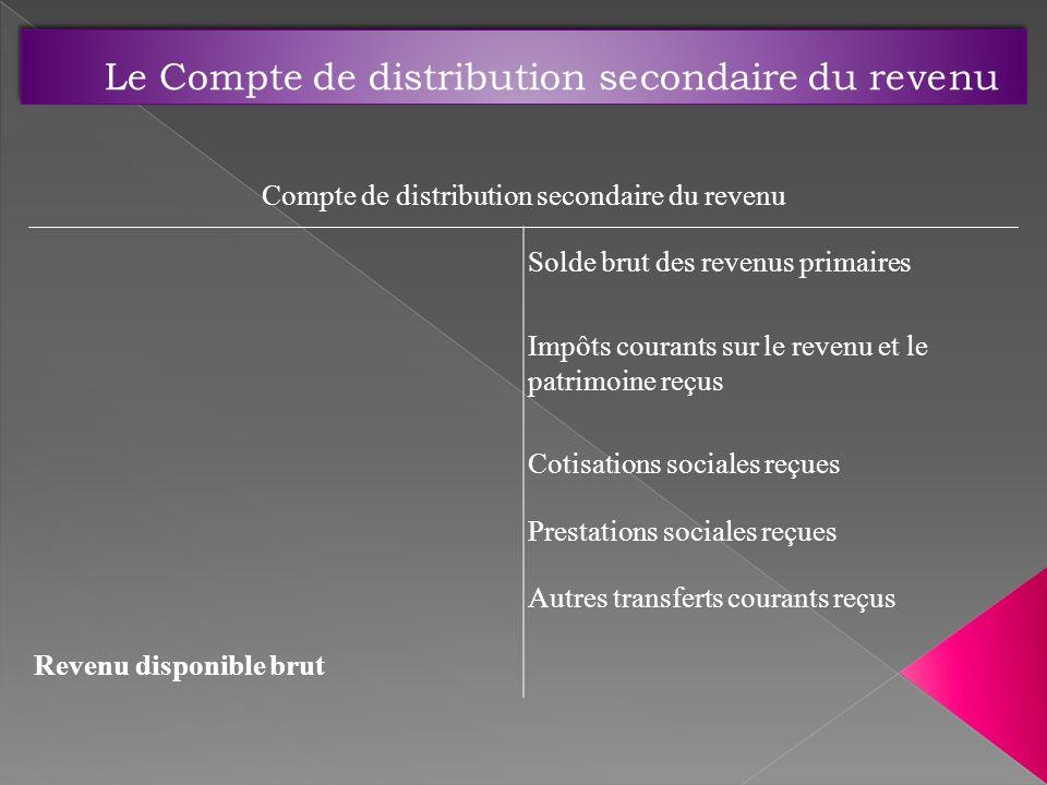 Le Compte de distribution secondaire du revenu