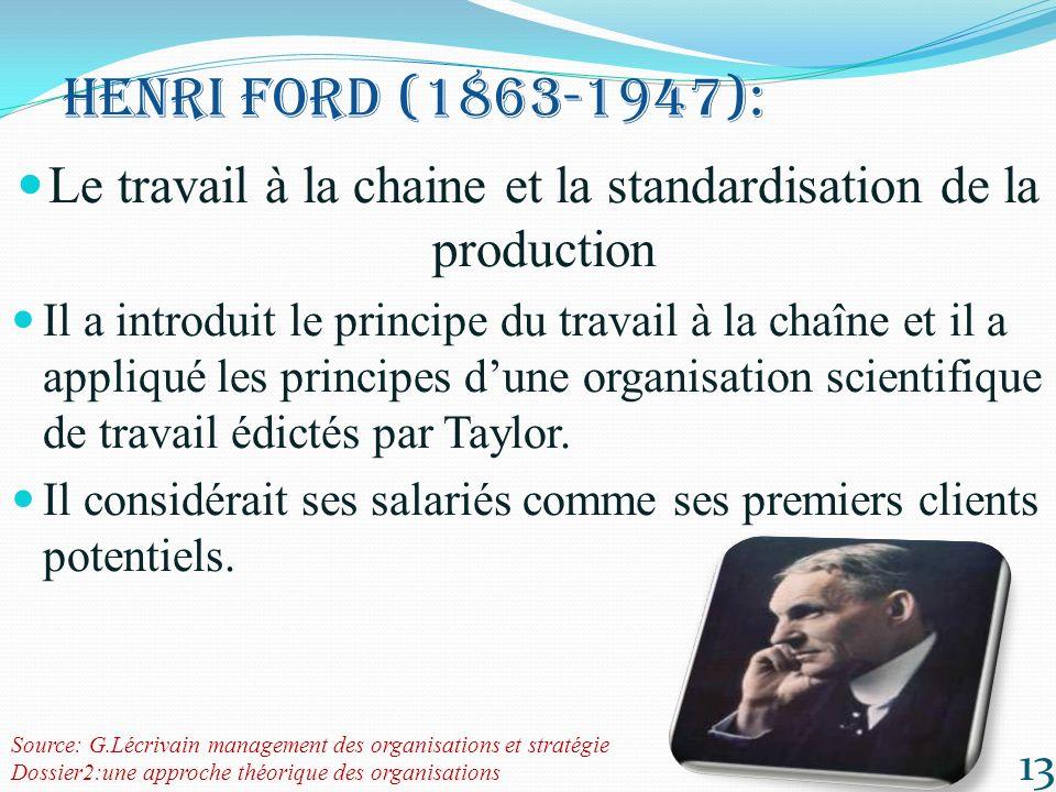 Le travail à la chaine et la standardisation de la production