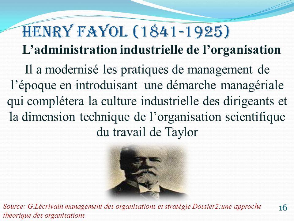 Il a modernisé les pratiques de management de l'époque en introduisant une démarche managériale qui complétera la culture industrielle des dirigeants et la dimension technique de l'organisation scientifique du travail de Taylor
