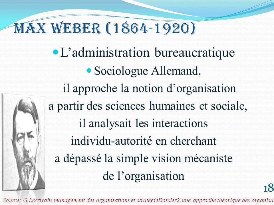 Max weber (1864-1920) L'administration bureaucratique