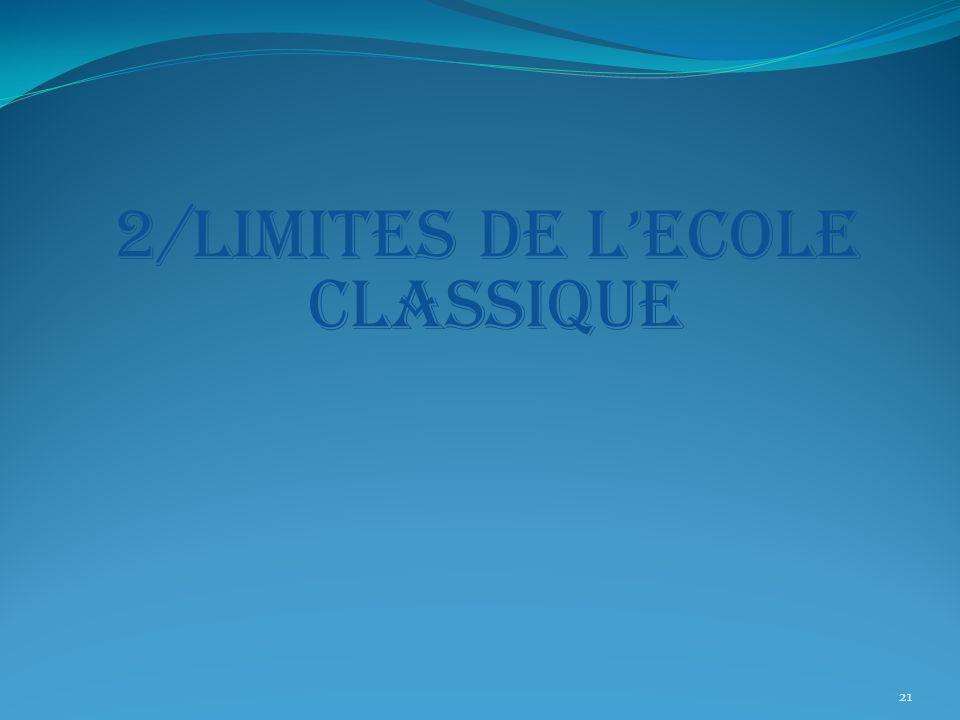 2/LIMITES DE L'ECOLE CLASSIQUE