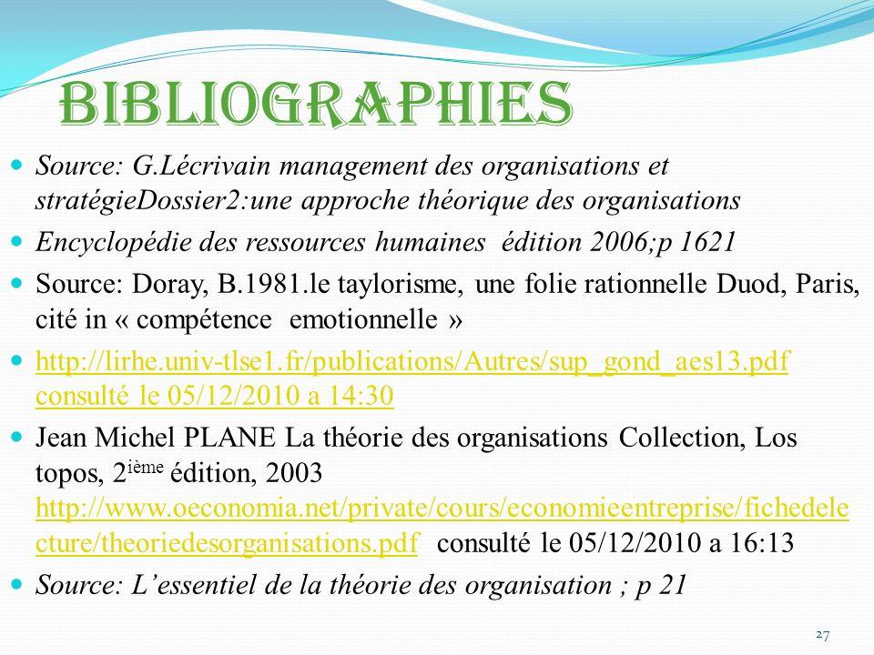 Bibliographies Source: G.Lécrivain management des organisations et stratégieDossier2:une approche théorique des organisations.