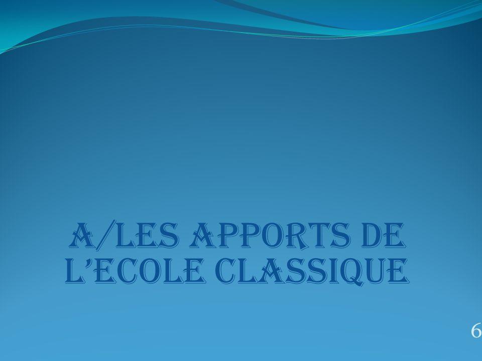 A/LES APPORTS DE L'ECOLE CLASSIQUE