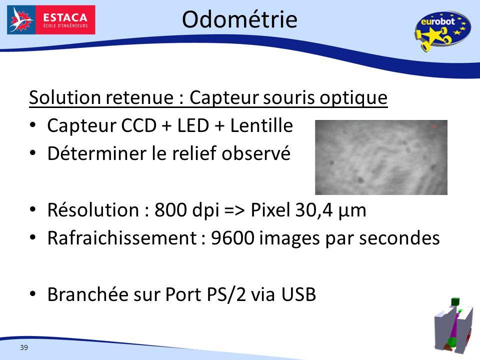 Odométrie Solution retenue : Capteur souris optique