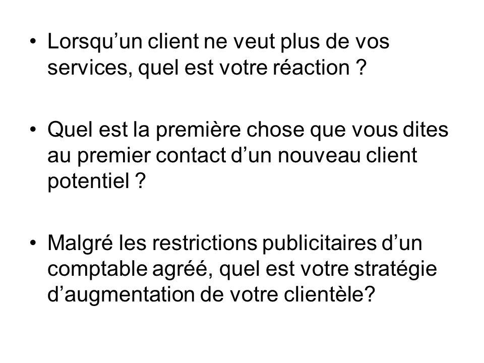 Lorsqu'un client ne veut plus de vos services, quel est votre réaction