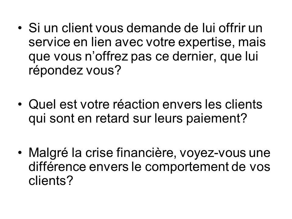 Si un client vous demande de lui offrir un service en lien avec votre expertise, mais que vous n'offrez pas ce dernier, que lui répondez vous
