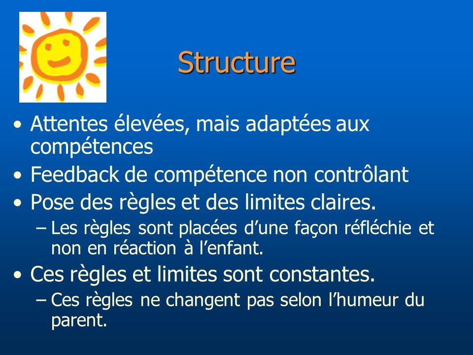 Structure Attentes élevées, mais adaptées aux compétences
