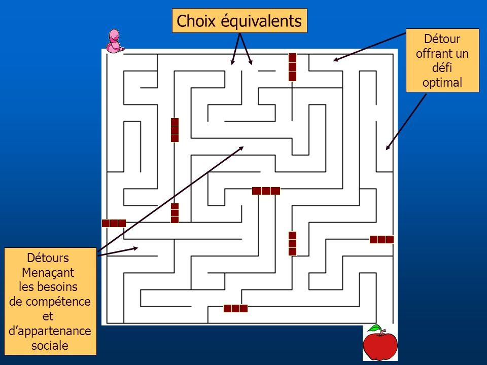 Choix équivalents Détour offrant un défi optimal Détours Menaçant