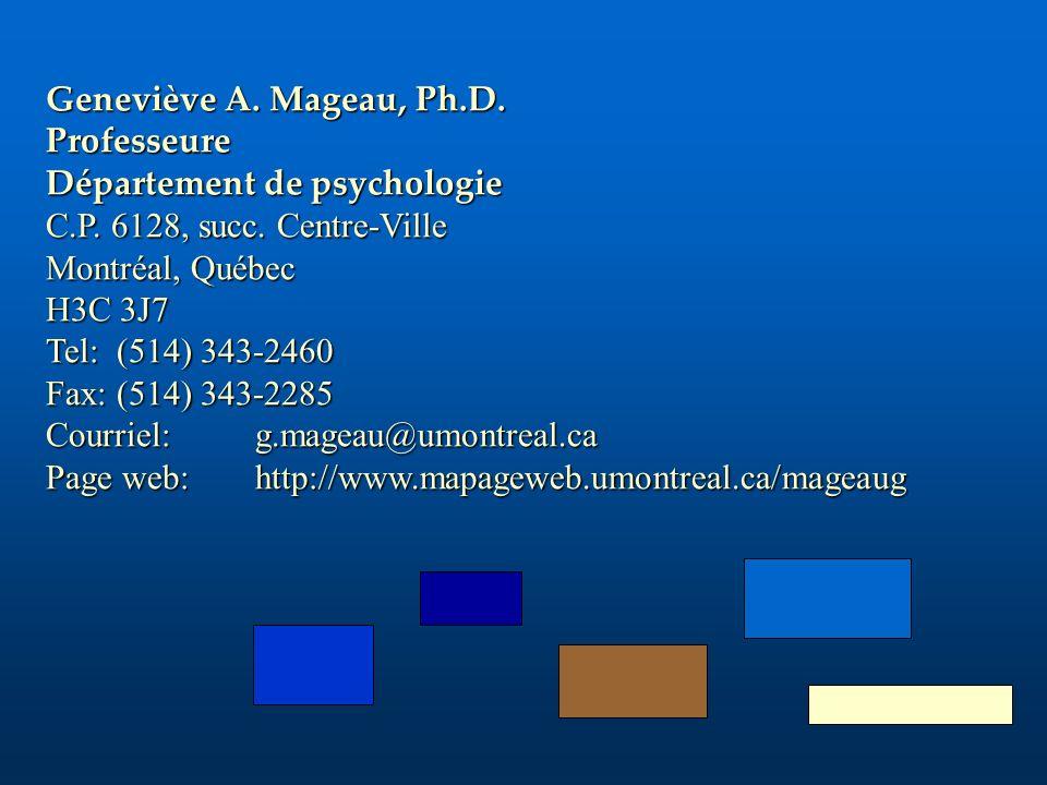 Geneviève A. Mageau, Ph.D. Professeure. Département de psychologie. C.P. 6128, succ. Centre-Ville.