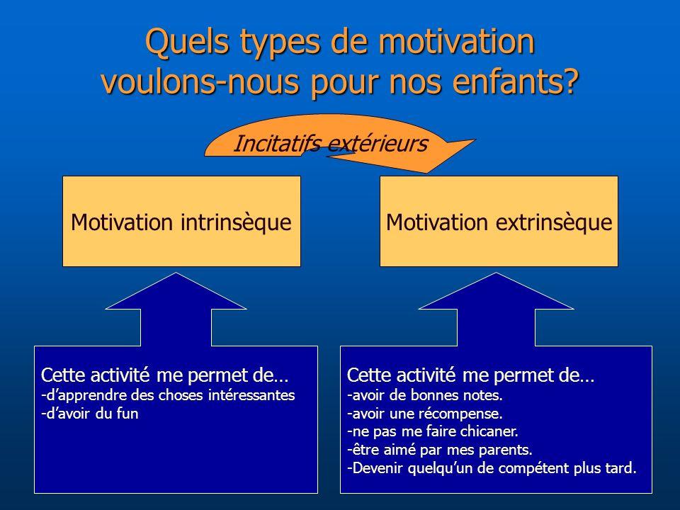 Quels types de motivation voulons-nous pour nos enfants
