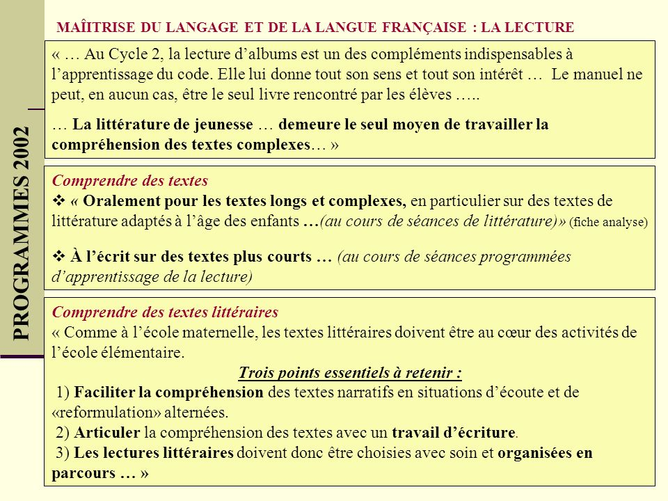 MAÎITRISE DU LANGAGE ET DE LA LANGUE FRANÇAISE : LA LECTURE