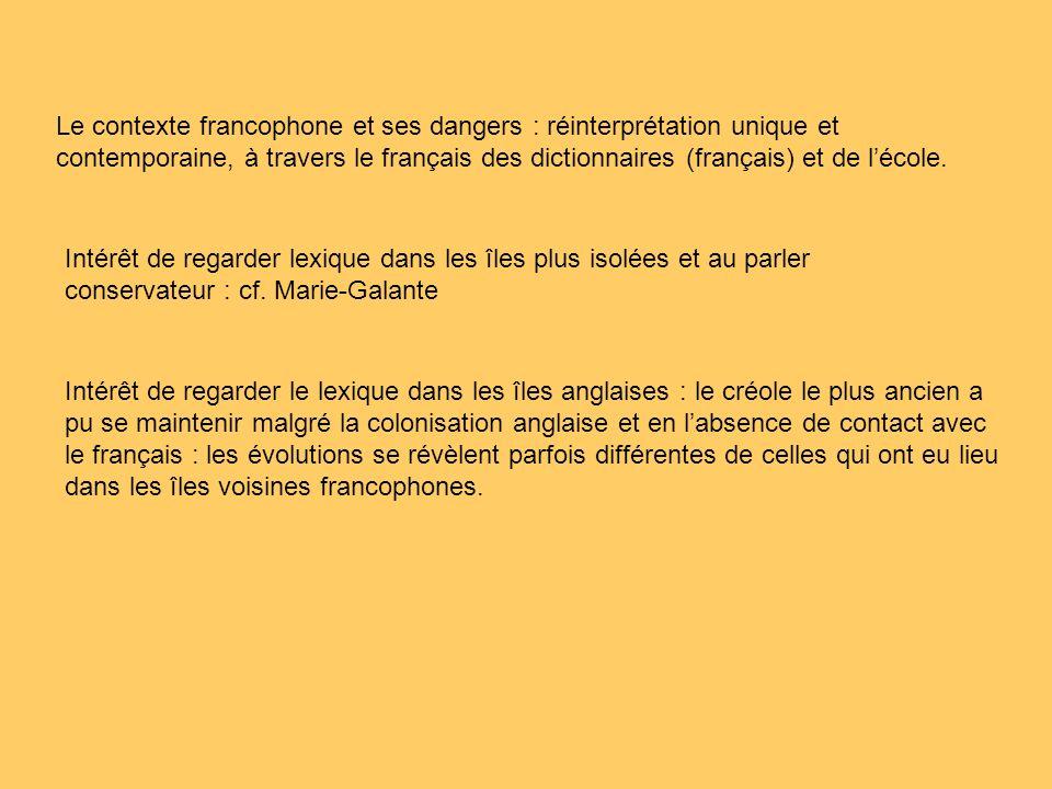 Le contexte francophone et ses dangers : réinterprétation unique et contemporaine, à travers le français des dictionnaires (français) et de l'école.