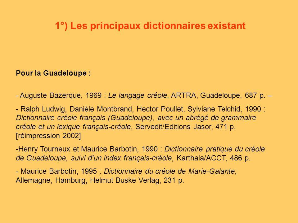 1°) Les principaux dictionnaires existant