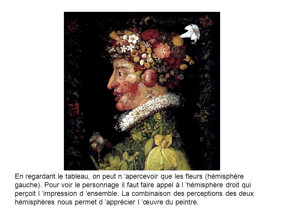 En regardant le tableau, on peut n 'apercevoir que les fleurs (hémisphère gauche).