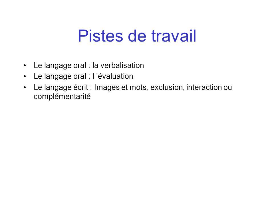 Pistes de travail Le langage oral : la verbalisation