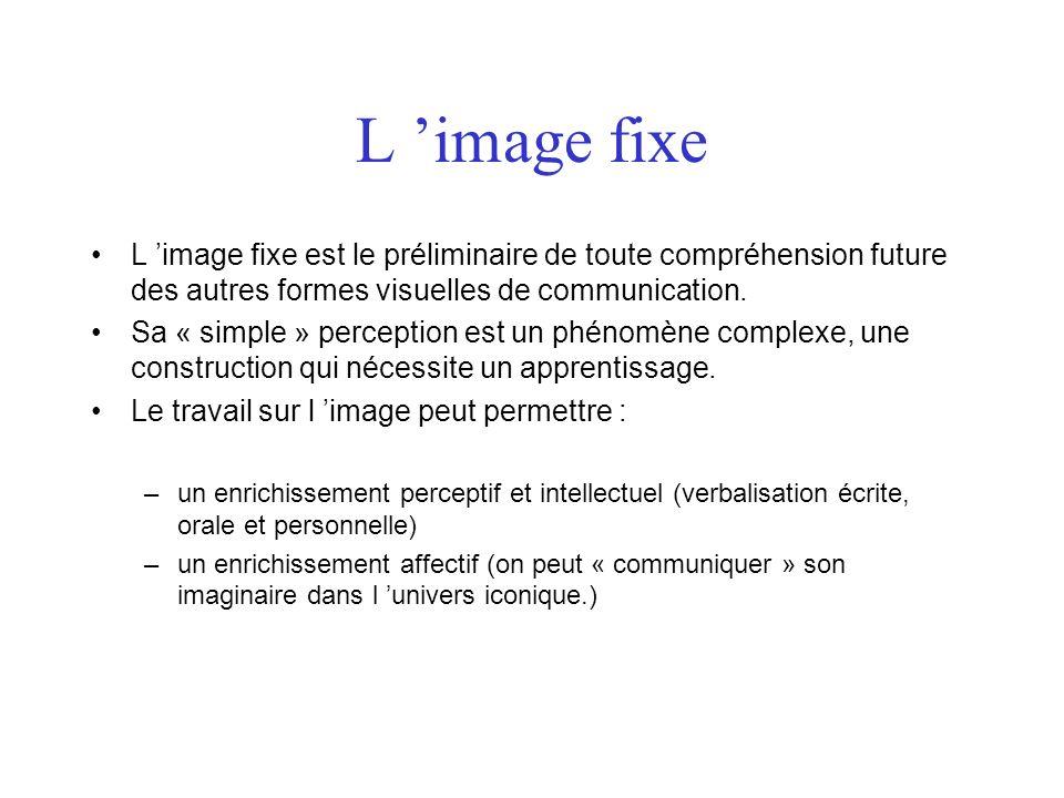 L 'image fixe L 'image fixe est le préliminaire de toute compréhension future des autres formes visuelles de communication.