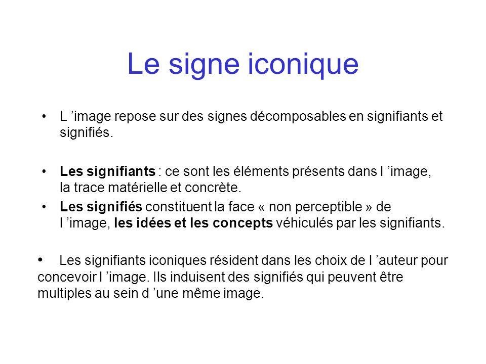 Le signe iconique L 'image repose sur des signes décomposables en signifiants et signifiés.