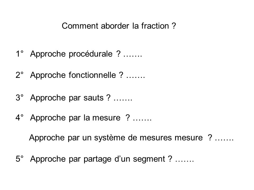 Comment aborder la fraction