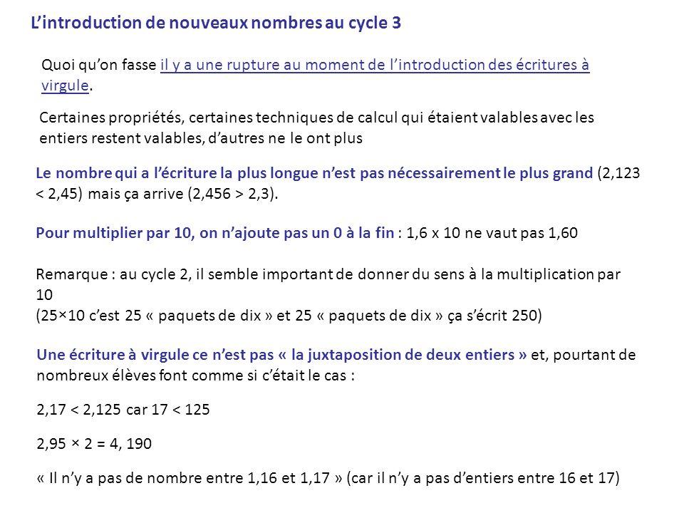 L'introduction de nouveaux nombres au cycle 3