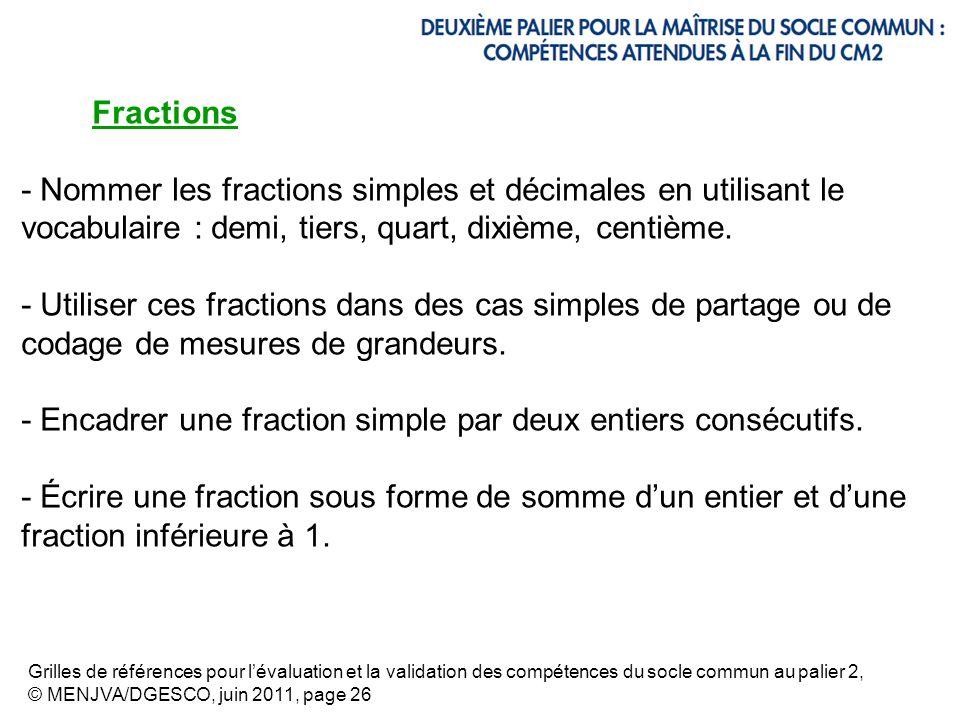- Encadrer une fraction simple par deux entiers consécutifs.