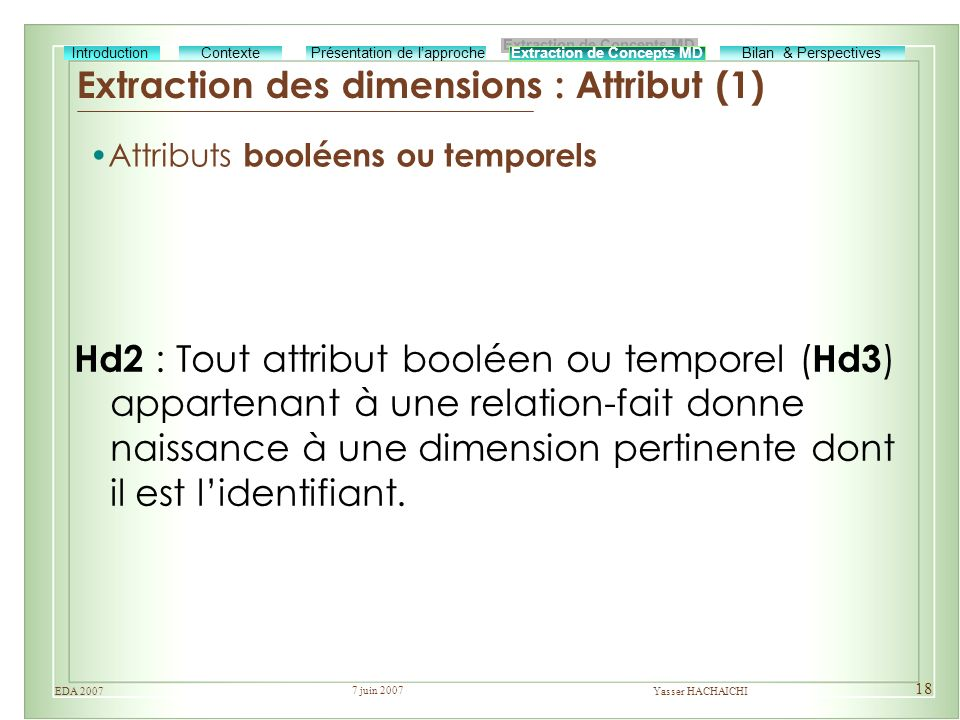 Extraction des dimensions : Attribut (1)